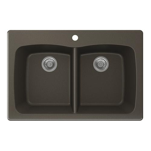 Swan Granite  W X  D Even Double Bowl Kitchen Sink
