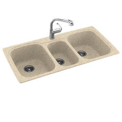 "Swan 44"" W x 22"" D Triple Bowl Kitchen Sink"