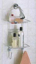 Chrome Adjustable Shower Caddy with Small Baskets