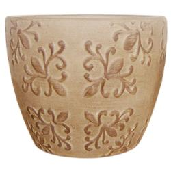 """Enchanted Garden™ 8"""" Brown Wash Ceramic Cup Planter with Pattern Embossed Design"""