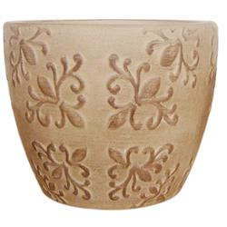 "Enchanted Garden™ 6"" Brown Wash Ceramic Cup Planter with Pattern Embossed Design"
