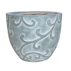 "Enchanted Garden™ 11"" Green Wash Ceramic Cup Planter with Leaf Embossed Design"