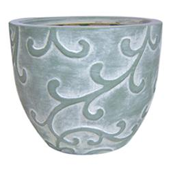 "Enchanted Garden™ 8"" Green Wash Ceramic Cup Planter with Leaf Embossed Design"