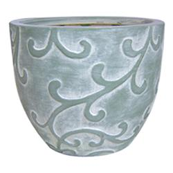 "Enchanted Garden™ 6"" Green Wash Ceramic Cup Planter with Leaf Embossed Design"