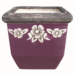 Violet Square Ceramic Planter