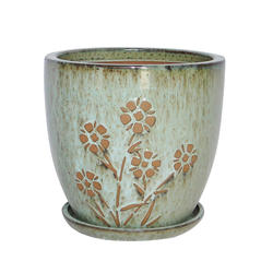 "Enchanted Garden™ 9"" Ceramic Round Flower Embossed Planter with Saucer"