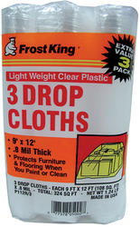 Frost King 9' x 12' x 0.8 mil Clear Poly Drop Cloth - 3 pk.