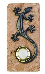 Carlon Gecko on Travertine Stone Wired Button