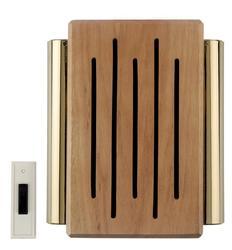 Carlon Oak with Brass Tubes Wireless Battery Chime