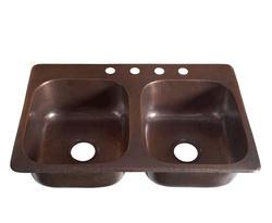 "SINKOLOGY Handcrafted 33"" x 22"" Drop-In Pure Copper Kitchen Sink"