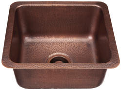 SINKOLOGY Square Handcrafte Pure Solid Copper Bar or Prep Sink in Hammered Antique Copper