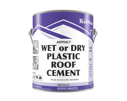 RoofWorks Wet or Dry Plastic Roof Cement - .9-gal.