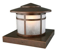 "Round Column 1-Light 9.5"" Brushed Copper Outdoor Post Light"