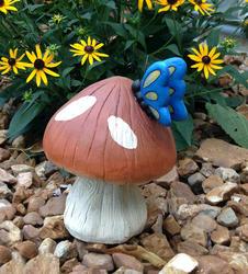"""Enchanted Garden™ 9"""" Solar Butterfly on Mushroom"""
