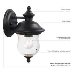 """Highland 1-Light 10.5"""" Black Outdoor Wall Light"""