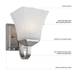 """Design House 1-Light 8.25"""" Satin Nickel Indoor Wall Mount"""