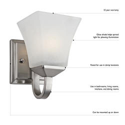 "Millbridge 1-Light 6"" Satin Nickel Indoor Wall Mount"