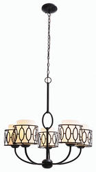 "Wyatt 5-Light 28"" Aged Bronze Indoor Chandelier"