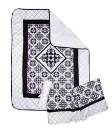 3-Piece Black and White Versailles Crib Bedding Set