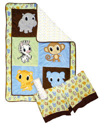 3 Piece Chibi Zoo Crib Bedding Set