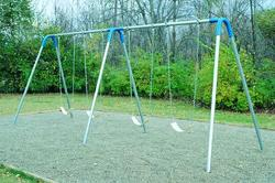 UltraPlay Double Bay Bipod Swing Set with 4 Strap Seats and Blue Yokes
