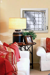 """Hy-Lite 29"""" x 29"""" Black Patina Leaded Beveled Casement Window - Right-Hinged (Outside View)"""