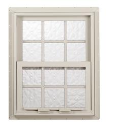 "Hy-Lite 39"" x 39"" Glacier Wave 6"" Acrylic Block Privacy Single Hung Window"