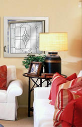 """Hy-Lite 29"""" x 29"""" Satin Nickel Leaded Beveled Privacy Casement Window - Left-Hinged (Outside View)"""