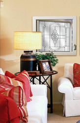 """Hy-Lite 29"""" x 29"""" Satin Nickel Leaded Beveled Privacy Casement Window - Right-Hinged (Outside View)"""