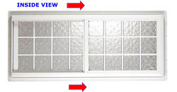 "Hy-Lite 27"" x 21"" Glacier Wave 6"" Acrylic Block Horizontal Slider Window - Right Operating (Outside View)"