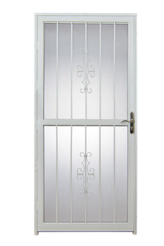 Tru bolt 301 32 x 80 white steel prehung security door for Prehung exterior doors with storm door