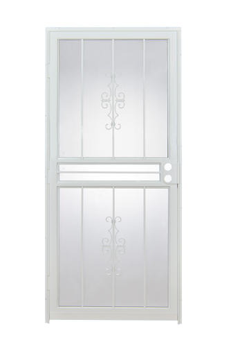 Tru bolt 501 36 x 80 white steel prehung security door for Prehung exterior doors with storm door