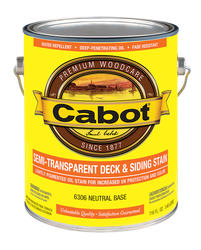 Cabot Neutral Base Low-VOC Semi-Transparent Deck & Siding Stain - 1 gal.