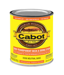 Cabot Neutral Base Low-VOC Semi-Transparent Deck & Siding Stain - 1 qt