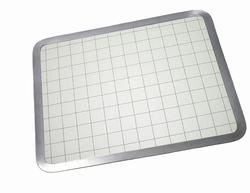 """Vance 12"""" x 15"""" Built-In Tempered Glass Cutting Board with Gray Graphic"""