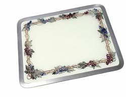 """Vance 12"""" x 15"""" White Built-In Tempered Glass Cutting Board with Grapevine Border"""