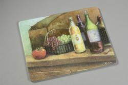 "Vance 15"" x 12"" Tempered Glass Surface Saver Cutting Board with Wine Scene"