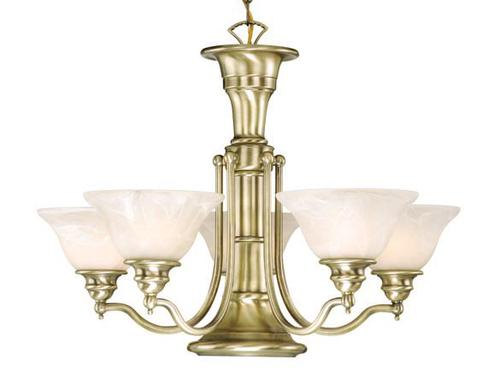 "Standford 6 Light 25"" Antique Brass Chandelier at Menards"
