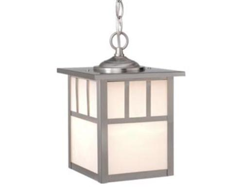 "Mission 1 Light 11"" Stainless Steel Outdoor Pendant Light"