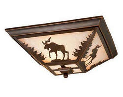 "Rustica 3-Light 14"" Burnished Bronze Ceiling Light"
