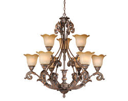 "Seville 9-Light 33.25"" Aged Bronze Chandelier"