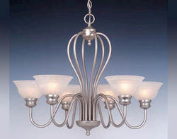 Babylon 6 Light Chandelier w/Alabaster Glass