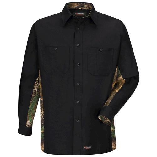 Wrangler workwear camo long sleeve work shirt black xx for Black long sleeve work shirt
