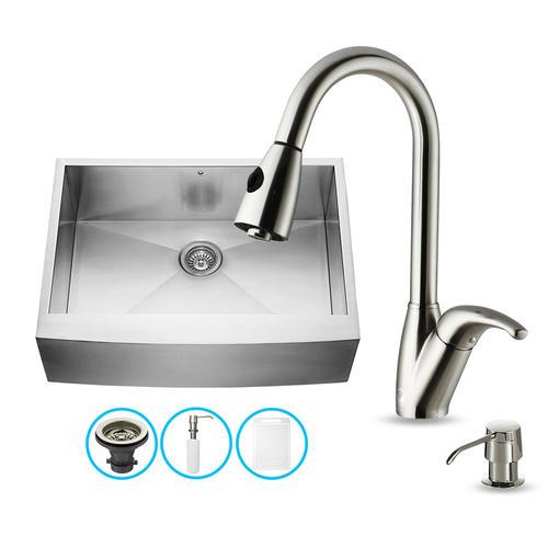 Menards Kitchen Sinks : VIGO Farmhouse Stainless Steel Kitchen Sink Faucet and Dispenser