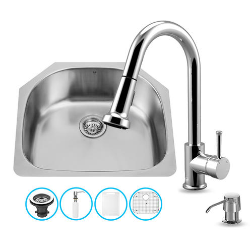 24 Inch Kitchen Sink : VIGO All in One 24-inch Undermount Stainless Steel Kitchen Sink and ...