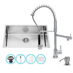 VIGO All in One 30-inch Undermount Stainless Steel Kitchen Sink and Chrome Faucet Set