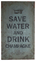 """11.75"""" x 19.75"""" Wood """"Save Water, Drink Champagne"""" Wall Decor"""