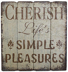 "18"" x 18.75"" Wood ""Cherish"" Wall Decor"