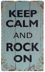 "12"" x 19.75"" Wood ""Keep Calm and Rock On"" Wall Decor"