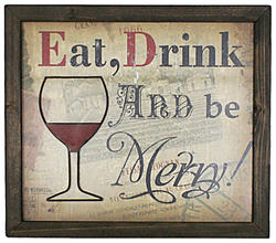"16"" x 14"" Wood ""Eat, Drink & be Merry"" Wall Decor"